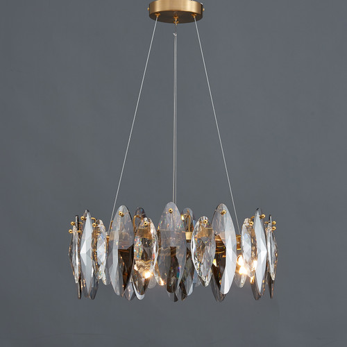 Smoked Crystal Round Chandelier 5 Lights