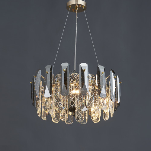 Smoked Net Crystal Round Chandelier 5 Lights