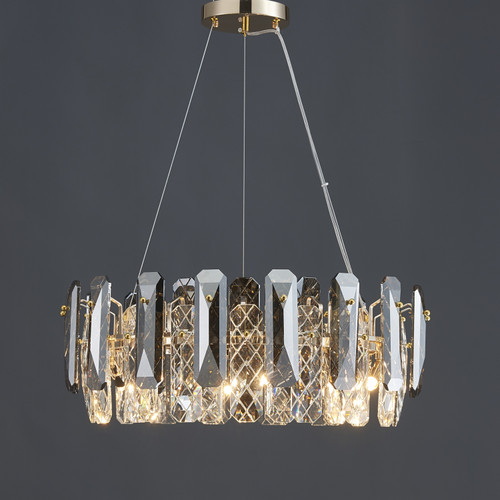 Smoked Net Crystal Round Chandelier 6 Lights