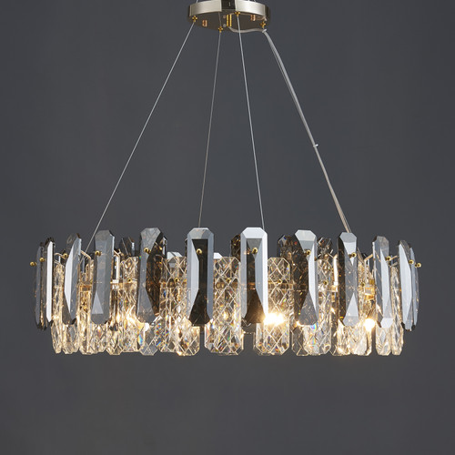 Smoked Net Crystal Round Chandelier 8 Lights
