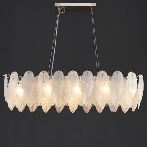 White Feather Linear Chandelier 10 Lights