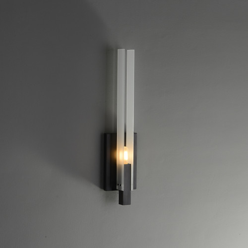 Two-piece Rectangular Glass Wall Sconce