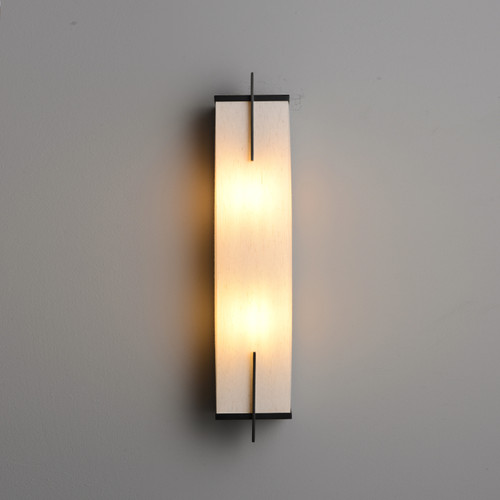 Rectangular Wall Sconce With Fabric shade 2 Lights
