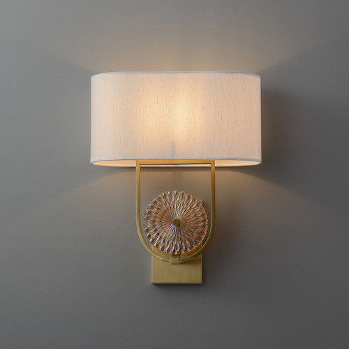 Wall Scone with Oval Fabric Linen Lampshade