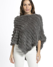 Mid Grey Coney Fur Poncho RF1018A-03M