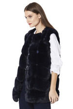 Luxury Faux Fur Gilet in Navy FMCG395A-07