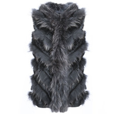 Long Black Coney and Fox Fur Tube Gilet RF4678A-01