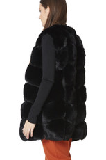 Luxury Faux Fur Gilet in Black FMCG395A-01
