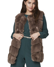 Luxury Faux Fur Gilet in Mocha FMCG395A-09