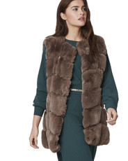 Luxury Faux Fur Gilet in Mocha FMCG395A-09