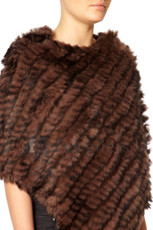Chocolate Brown Coney Fur Poncho RF1018A-04
