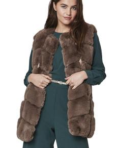 Luxury Faux Fur Gilet in Mocha