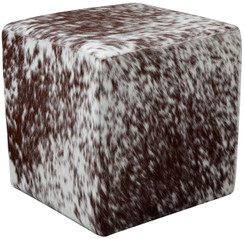Brown and White Speckled Cowhide Cube