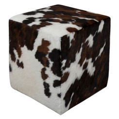 Dark Brown and White Cowhide Cube