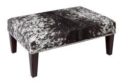 Black & White Cowhide Footstool