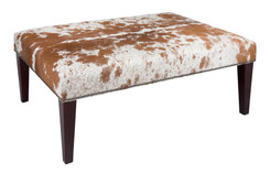 Light Brown & White Cowhide Footstool