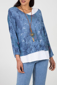 Double Layer Jersey Top with Necklace in Blue (NT-D09) (view)