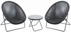Foldable Rattan Garden Furniture Set in Black (FRSET - BLK)