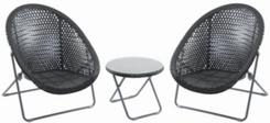 Foldable Rattan Garden Furniture Set in Black (FRSET - BLK)