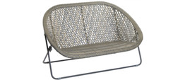 Foldable Rattan Two Seater Lounger in Stone
