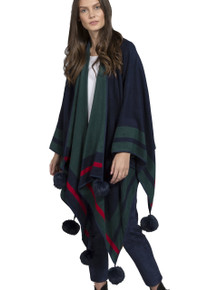 Cashmere Real Fur Pom Pom Wrap in Navy and Green CSRF6925A-07N