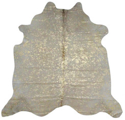 White and Gold Metallic Cowhide Rug
