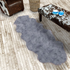 Silver Grey Double Sheepskin Rug