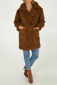 Long Stylish Faux Fur Teddy Coat in Brown NL5111-04