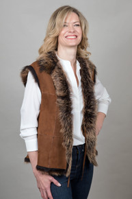 Sheepskin Gilet in Rust