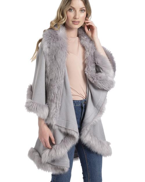 Faux Fur Wrap in Light Grey