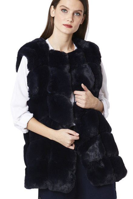 Luxury Faux Fur Gilet in Navy