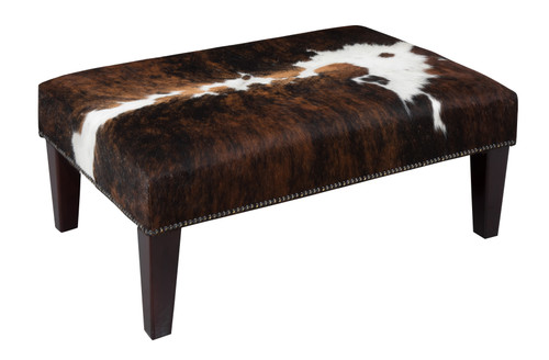 Tri Colour Cowhide Footstool