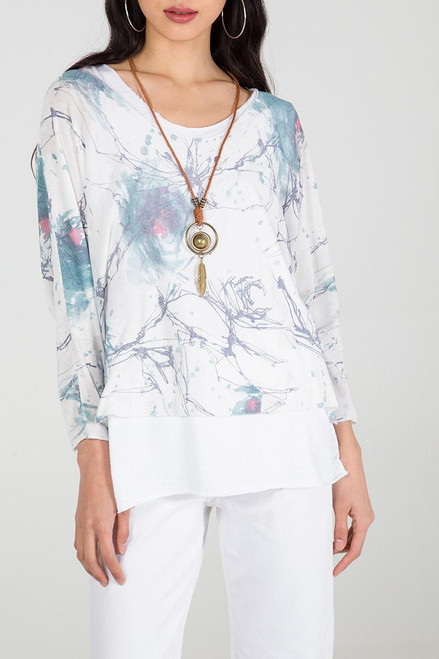 Double Layer Jersey Top with Necklace in White (NT-D02)