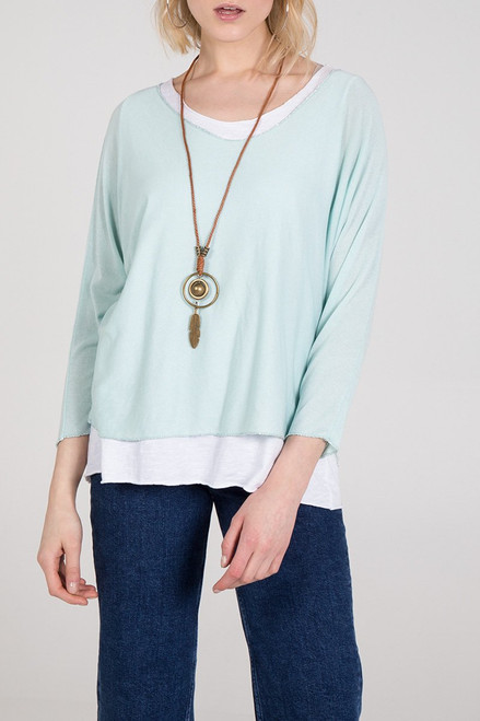 Double Layer Jersey Top with Necklace in Mint