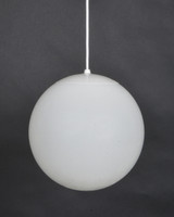 Ten inch globe pendant shown in white acrylic with white hardware.