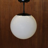 14 Inch Acrylic Globe Pendant with Stem. White shade, black hardware.