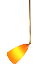 Retro Bullet Pendant with Swivel, shown with premium brass parts and orange shade.