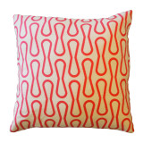"Barkcloth Throw Pillow ""Loop"" Pink"