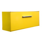 "This modern mailbox design reflects the lines and colors of the curbside mailbox.  The dimensions are reminiscent of mailboxes produced in the 50s and 60s when the ranch-style house, with a long low profile, was popular with the booming post-war middle class. The modbox is crafted in America, the way it used to be.  The Housing (shell) and Letter Box (door) can be the same color or you can mix and match from any of the twelve colors! Never before has there been a mailbox that allows you to express yourself like modbox!  Material: 20 gauge galvannealed steel                            [75%+ thicker than most mailboxes today] Paint: powder coated inside and out, baked at 400 degrees [environmentally friendly] Anodized aluminum door pull Size: 15"" long x 6"" high x 4.5"" deep"