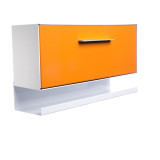 """This modern mailbox design reflects the lines and colors of the curbside mailbox.  The dimensions are reminiscent of mailboxes produced in the 50s and 60s when the ranch-style house, with a long low profile, was popular with the booming post-war middle class. The modbox is crafted in America, the way it used to be.  The Housing (shell) and Letter Box (door) can be the same color or you can mix and match from any of the twelve colors! Never before has there been a mailbox that allows you to express yourself like modbox!  Material: 20 gauge galvannealed steel                            [75%+ thicker than most mailboxes today] Paint: powder coated inside and out, baked at 400 degrees [environmentally friendly] Anodized aluminum door pull Size: 15"""" long x 6"""" high x 4.5"""" deep"""