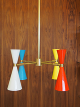 White, Sky Blue, Yellow and Red-orange with Brass Hardware