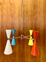 White, Sky Blue, Yellow and Red-orange with Polished Chrome Hardware