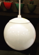 6 inch white glass globe pendant with white hardware