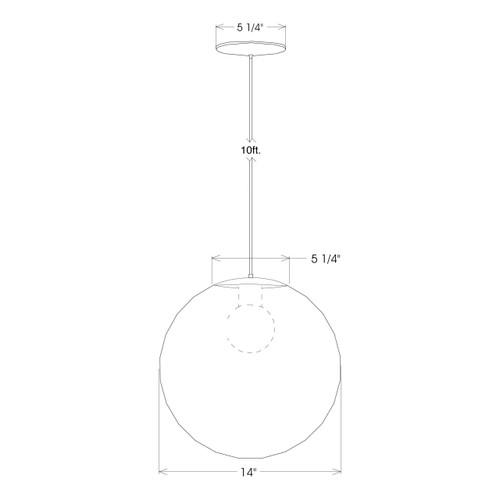 Fourteen Inch Globe Pendant