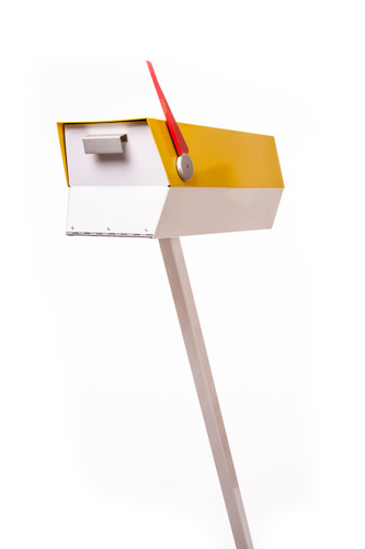"This mid-century modern mailbox design was inspired by those produced in the 1950s and 1960s. Two-tone color brings out the design's clean lines. Colors are original Eichler Exterior Accent Colors. Now you can have a mailbox that looks great with your mid-century, modern, and/or contemporary home.  The perfect blast from the past for your Atomic Ranch!  Crafted in America, the way it used to be.  Material: 20 gauge galvannealed steel, same as the 50s-70s [75%+ thicker than most mailboxes made today] Paint: powder coated inside and out, baked at 400 degrees [environmentally friendly] Anodized aluminum flag cap and door pull Size: 7"" wide x 7.75"" high x 21.25"" long"
