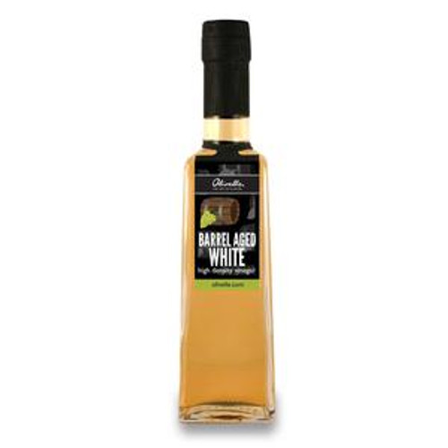 Taste: Sweet, thick, and fruity!  This barrel aged white balsamic vinegar will amaze you with its ability to add fresh flavor to everything from salads to desserts. Made with 80% Grape Must (cooked grape juice), this thick vinegar is naturally sweet and balanced with no thickeners or sweeteners added.  The white color makes it ideal for seasoning foods that you desire the flavor of balsamic without the color. White balsamic is made using the same methods as dark balsamic but filtered further. As time passes and the product is exposed to oxygen the golden color will increase.    How to Enjoy:  Dressing fruit, pasta, wild rice, and green salads. Finishing or glazing pork, chicken, seafood, or game. Drizzling over fresh fruit, cheese, or Greek yogurt with berries.