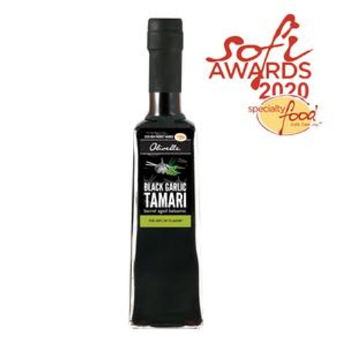 Taste: Salty, umami, and rich!  This Black Garlic Tamari Soy Balsamic Vinegar will add depth and flavor unlike any soy sauce product. The fermented Black Garlic adds a savory element that is not often found in other ways. Earthy aromas of fermented soy beans and back garlic combine to create this exquisite vinegar. Perfect for finishing a dish or as a stand alone ingredient. This vinegar is a 2020 Sofi Award Winner for best new vinegar!  How to Enjoy:  Add to Asian noodle bowls, stir fires, and rice bowls. Use as a savory soy sauce replacement. Marinade beef, chicken, pork, and fish.