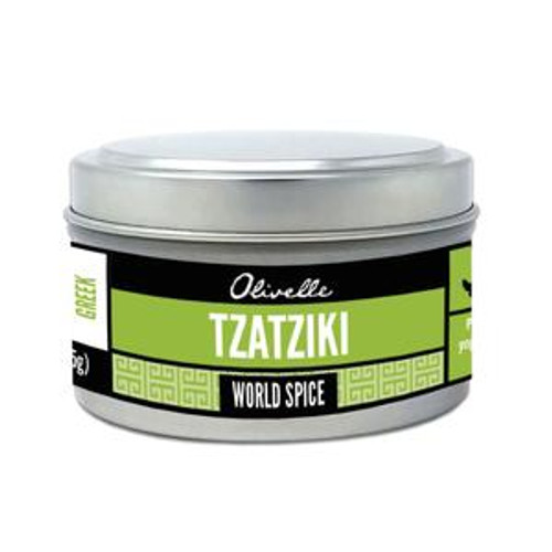 Taste: Tangy and bright!  Popular across all of the Mediterranean, Tzatziki is a sauce (or dip) made by combining yogurt, cucumbers, garlic, herbs, and lemon. A great compliment to grilled meats. To make your own dip, mix 1 cup yogurt, 1/2 cup diced cucumber, and 1 Tbsp Tzatziki spice.