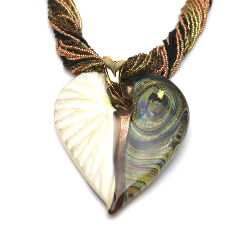 Murano Glass Diamante Heart Pendant Opal