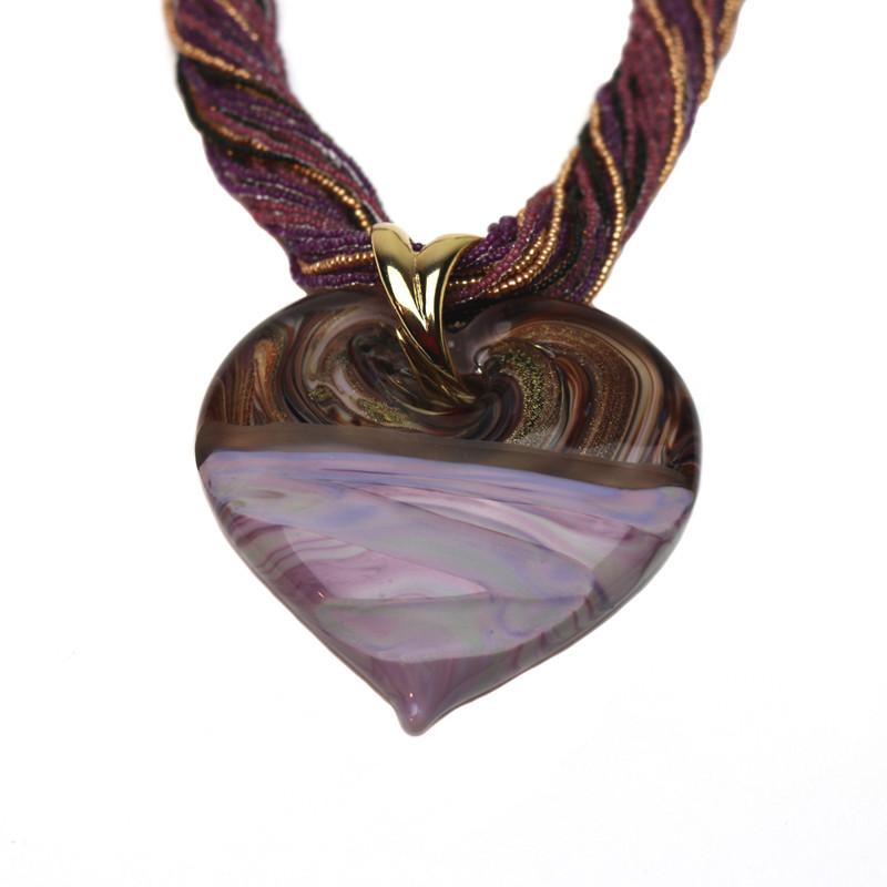 Murano Glass Diamante Heart Pendant Violet